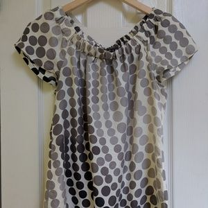 Ombre polkadot black and white blouse